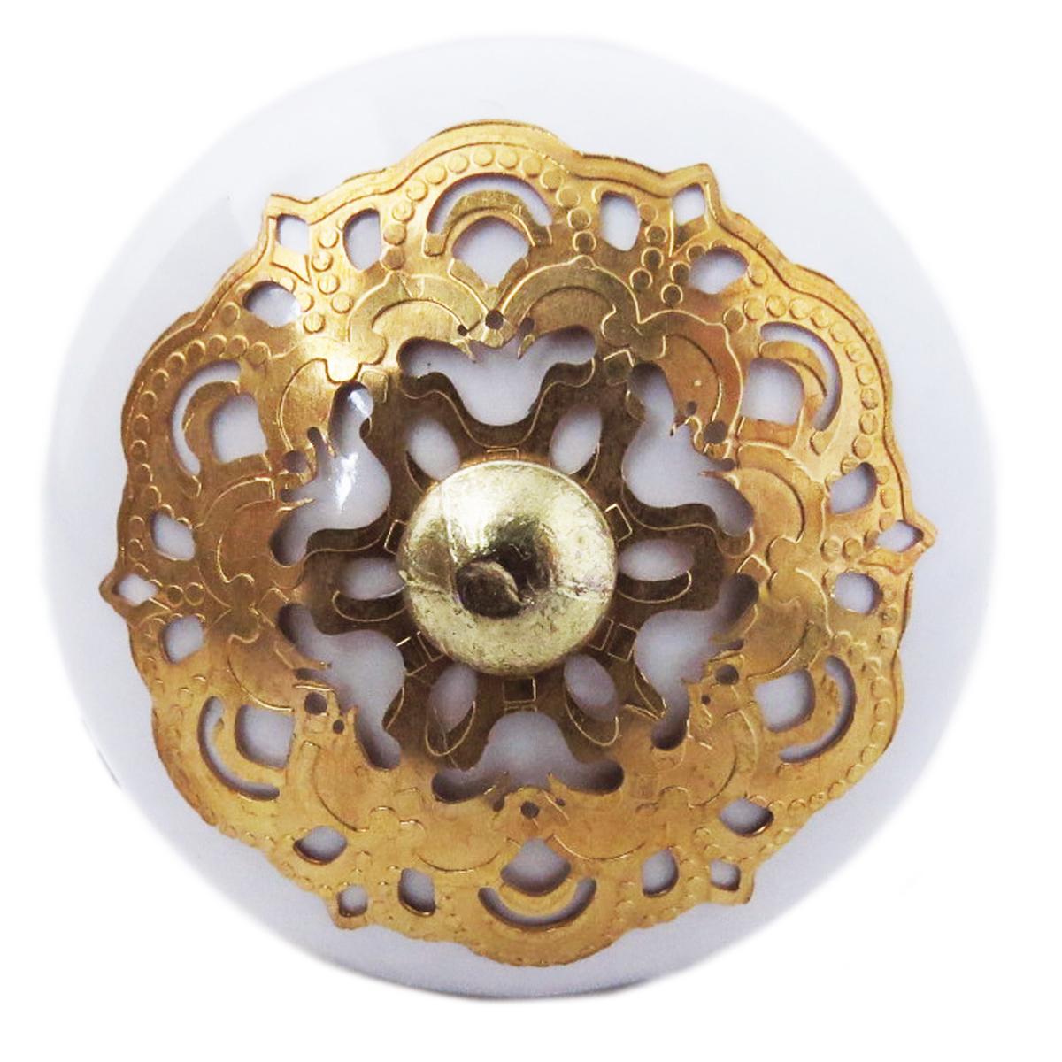 Bouton meuble céramique \'Boho\' blanc doré - 60x40 mm - [A3116]