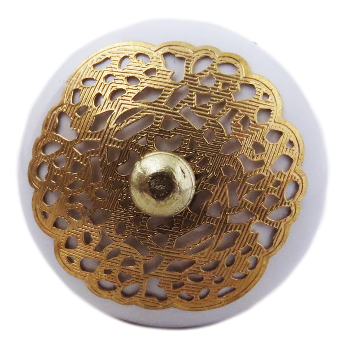 Bouton meuble céramique \'Boho\' blanc doré - 60x40 mm - [A3118]
