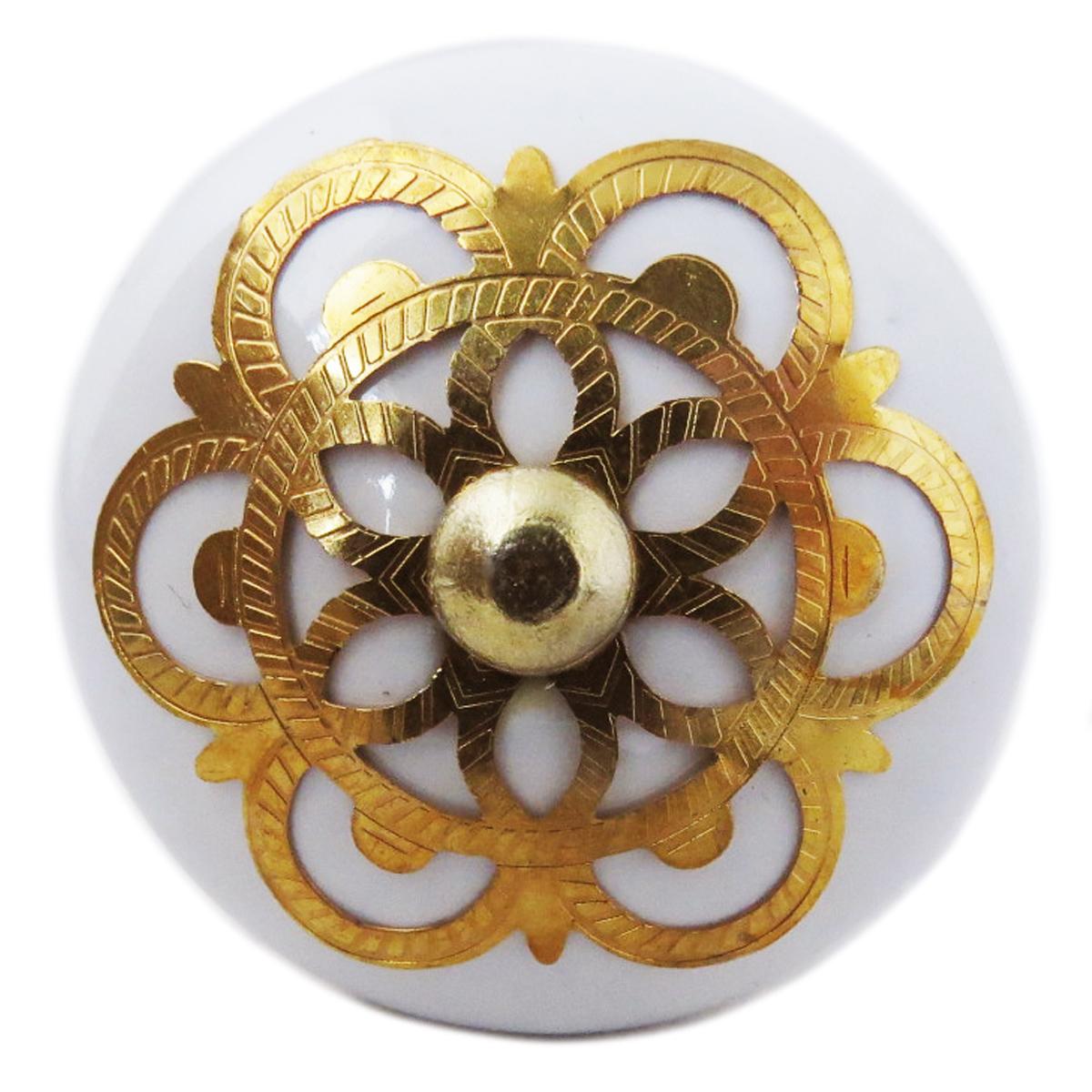 Bouton meuble céramique \'Boho\' blanc doré - 60x40 mm - [A3120]