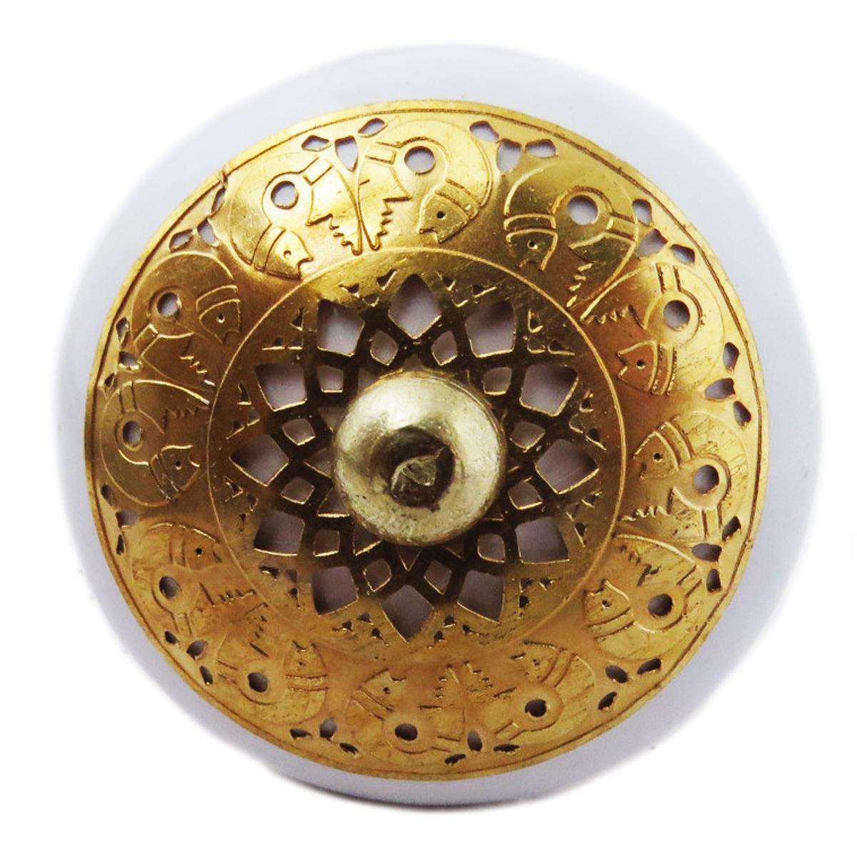 Bouton meuble céramique \'Boho\' blanc doré - 60x40 mm - [A3122]