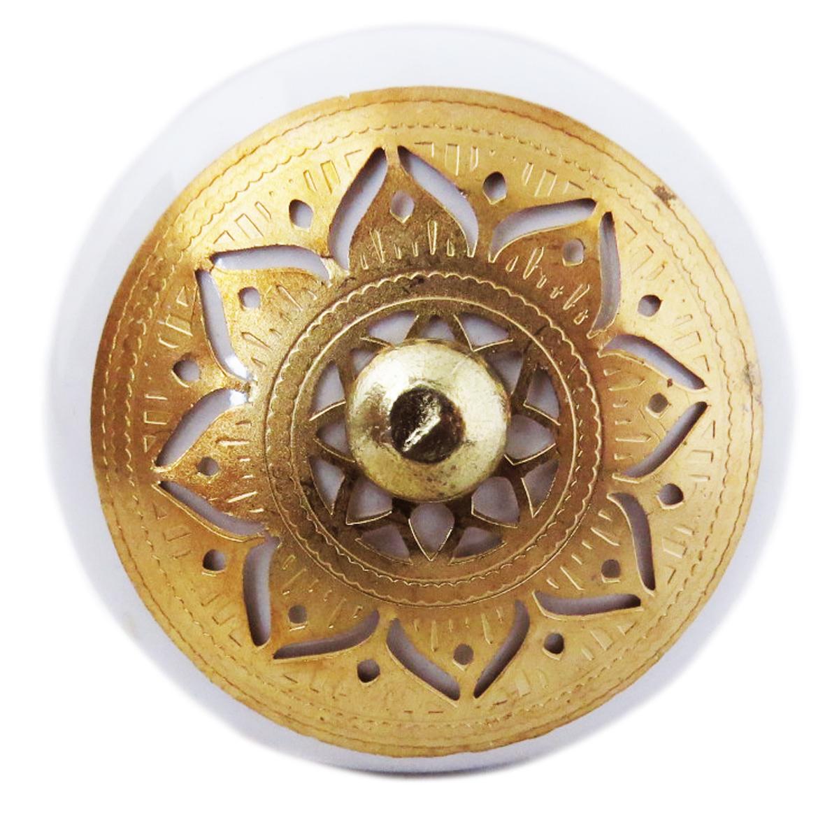 Bouton meuble céramique \'Boho\' blanc doré - 60x40 mm - [A3123]