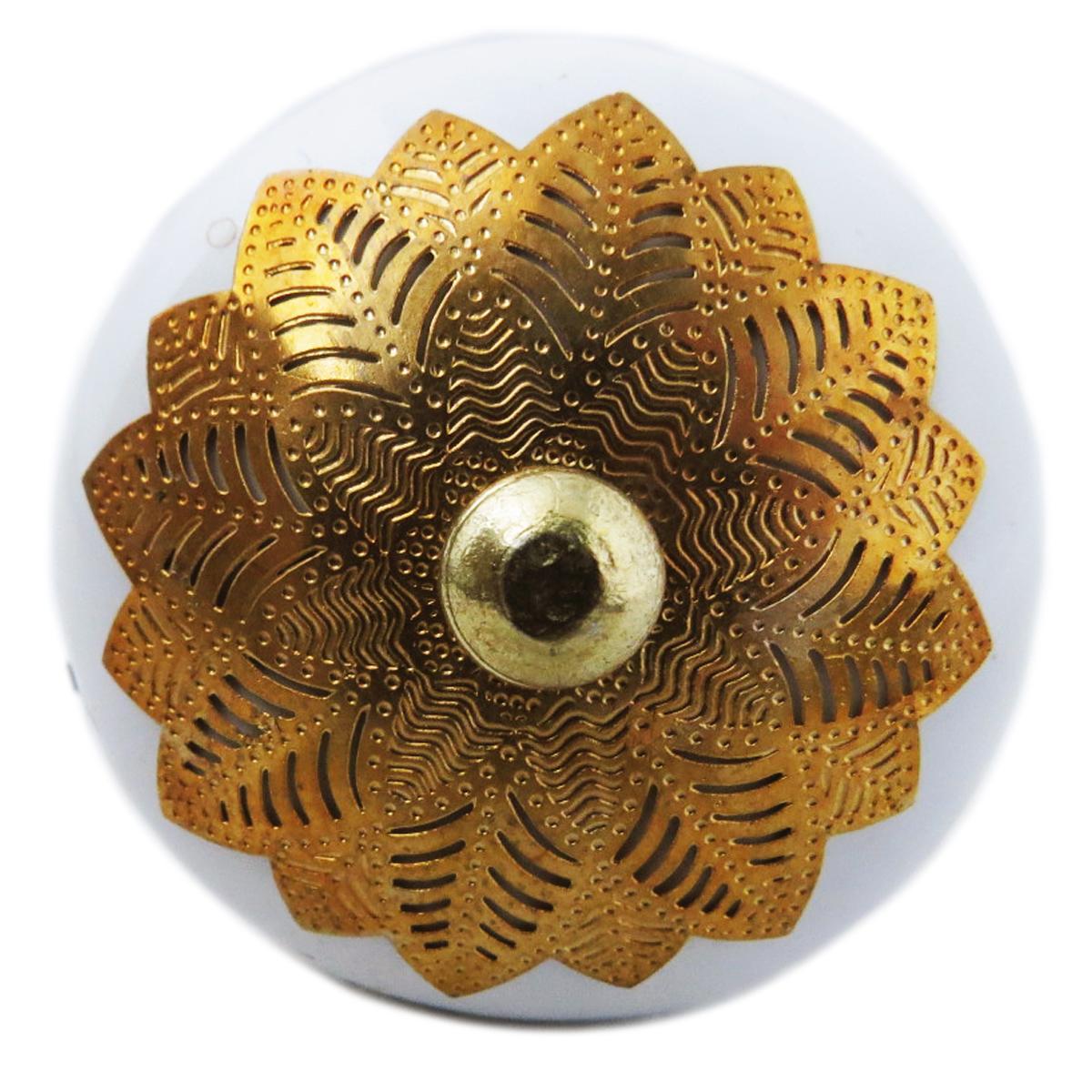 Bouton meuble céramique \'Boho\' blanc doré - 60x40 mm - [A3124]