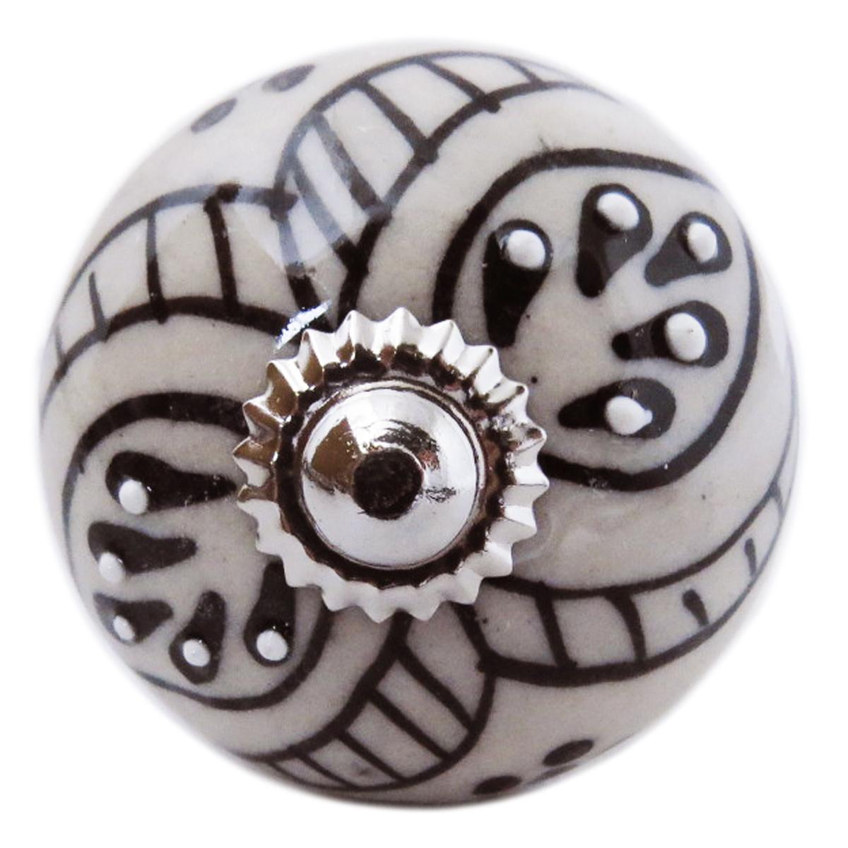 Bouton meuble céramique \'Boho\' gris noir argenté - 60x40 mm - [A3125]