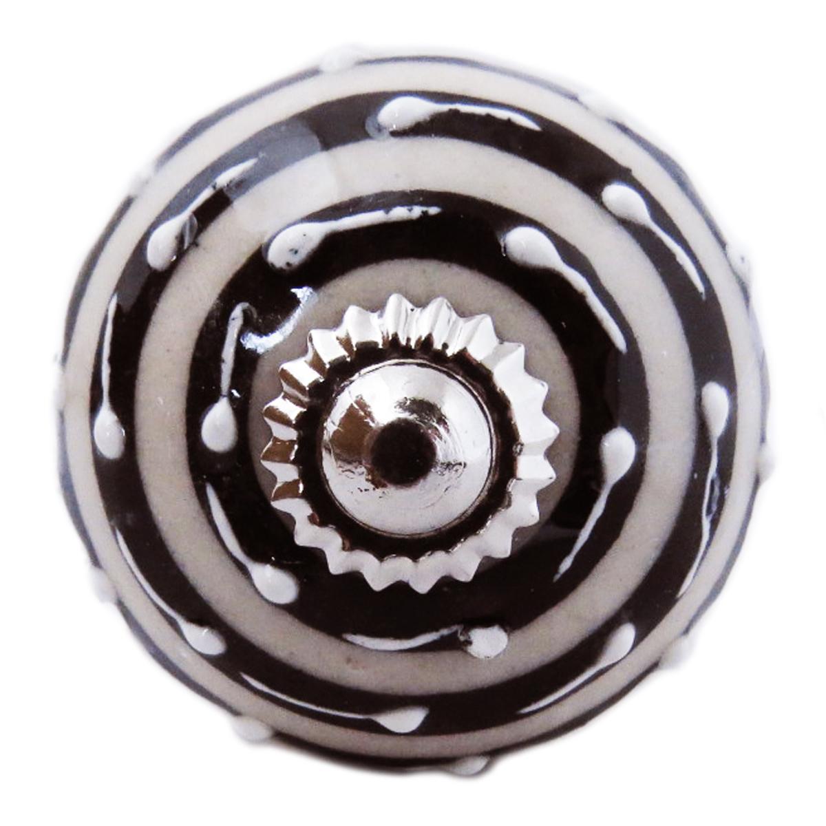 Bouton meuble céramique \'Boho\' gris noir argenté - 60x40 mm - [A3128]