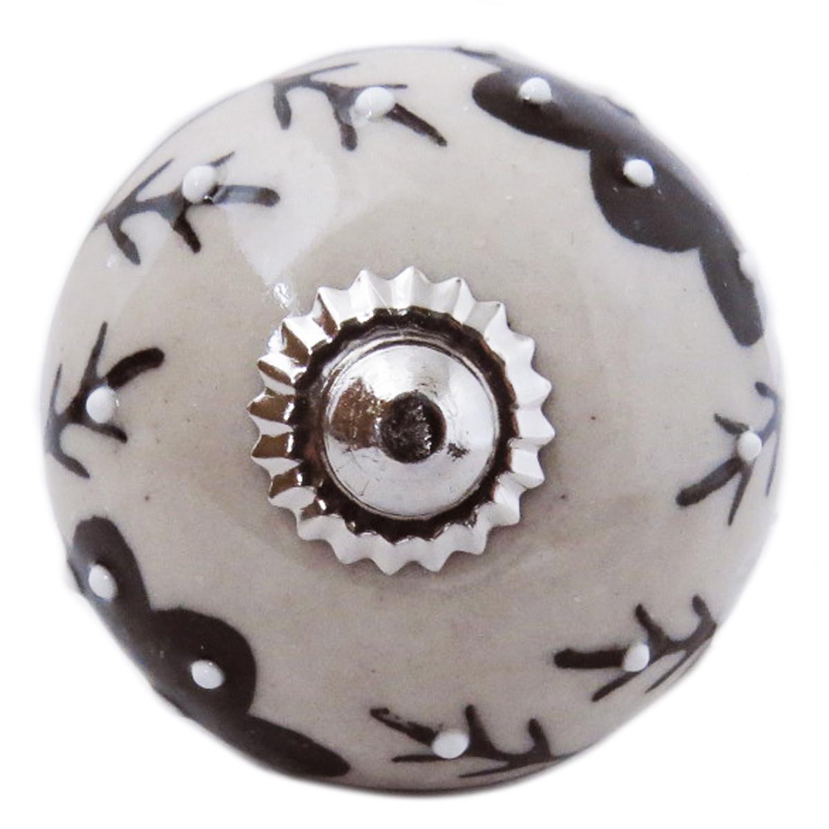 Bouton meuble céramique \'Boho\' gris noir argenté - 60x40 mm - [A3129]