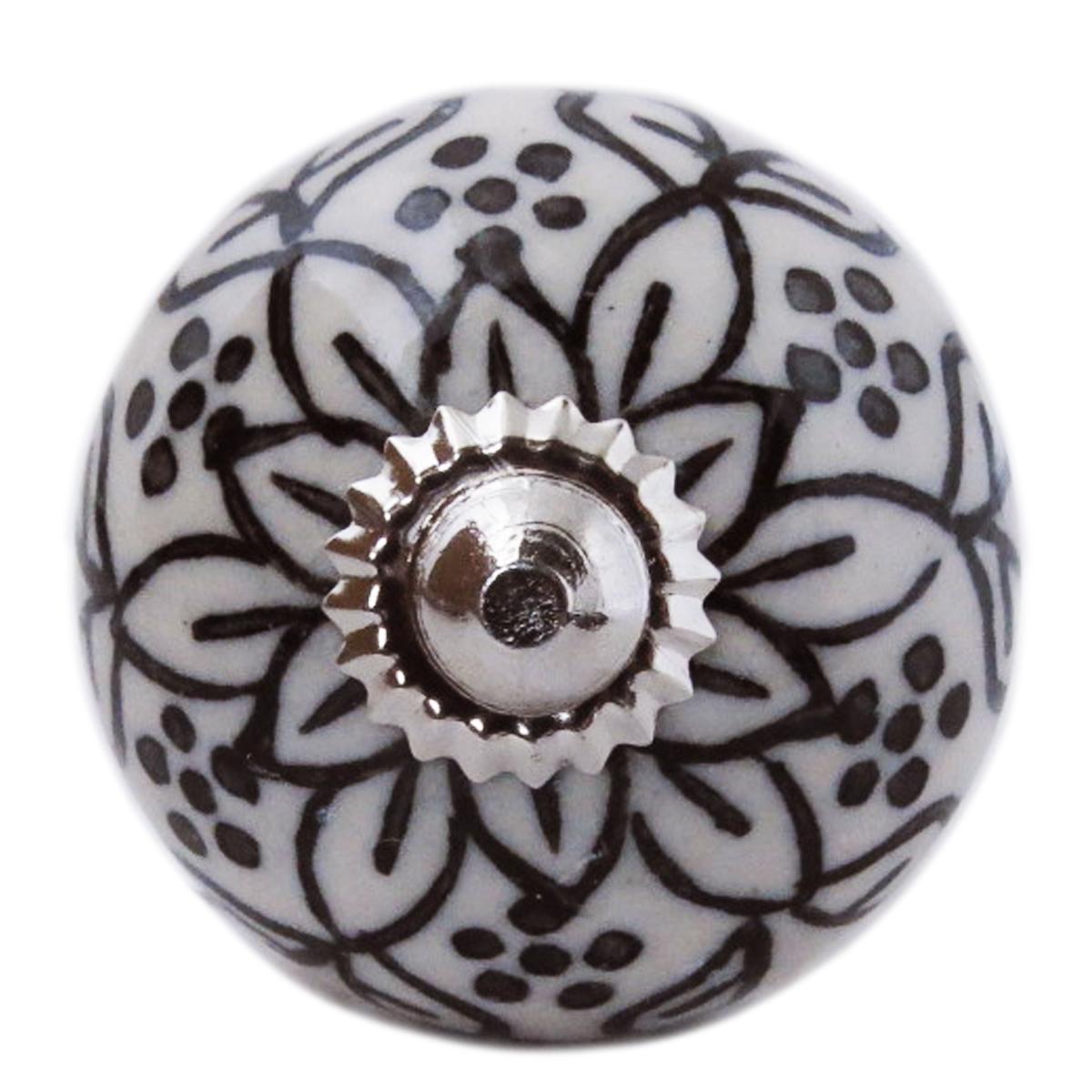 Bouton meuble céramique \'Boho\' gris noir argenté - 60x40 mm - [A3130]