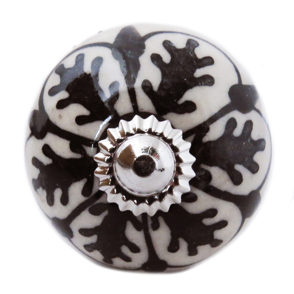 Bouton meuble céramique \'Boho\' gris noir argenté - 60x40 mm - [A3131]