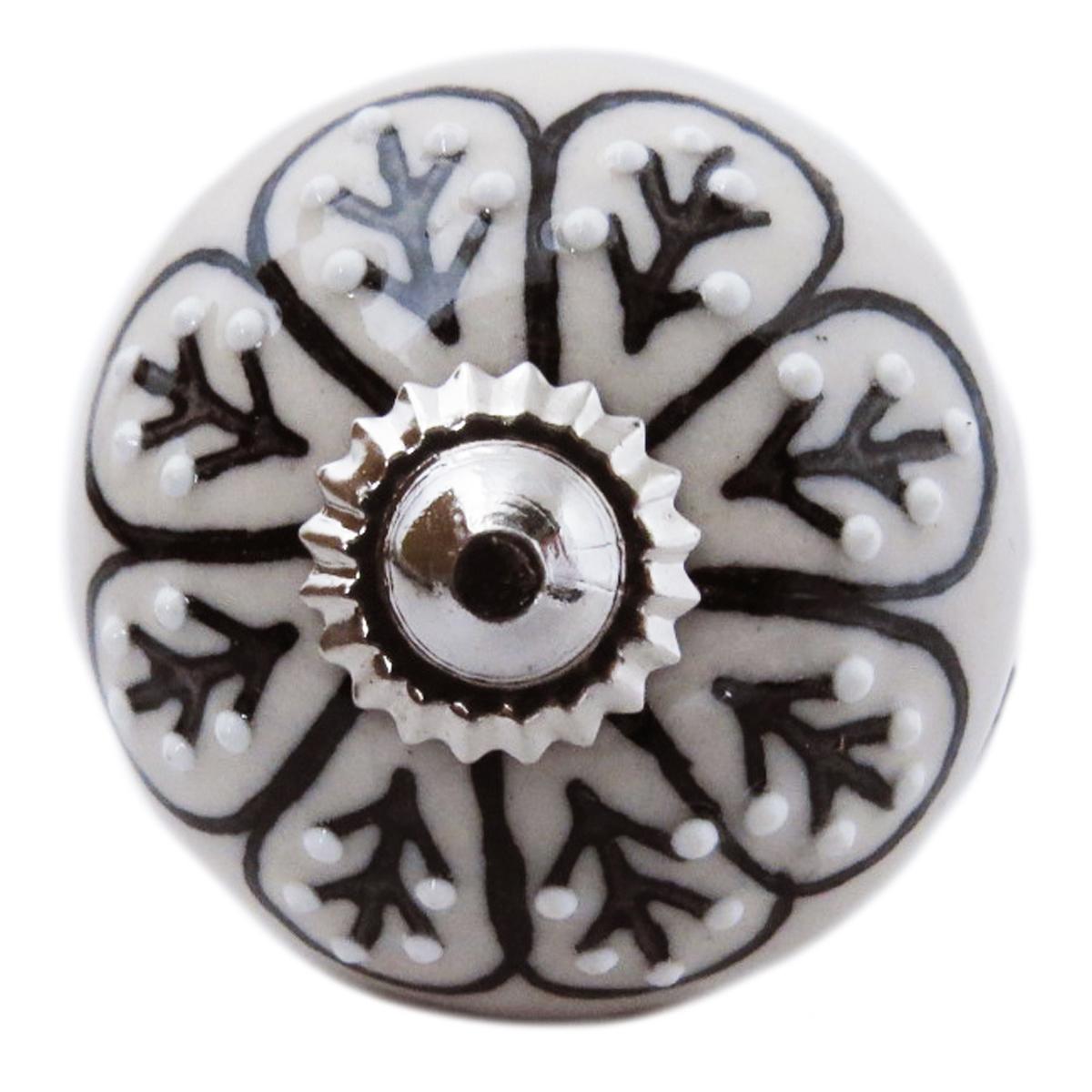 Bouton meuble céramique \'Boho\' gris noir argenté - 60x40 mm - [A3132]