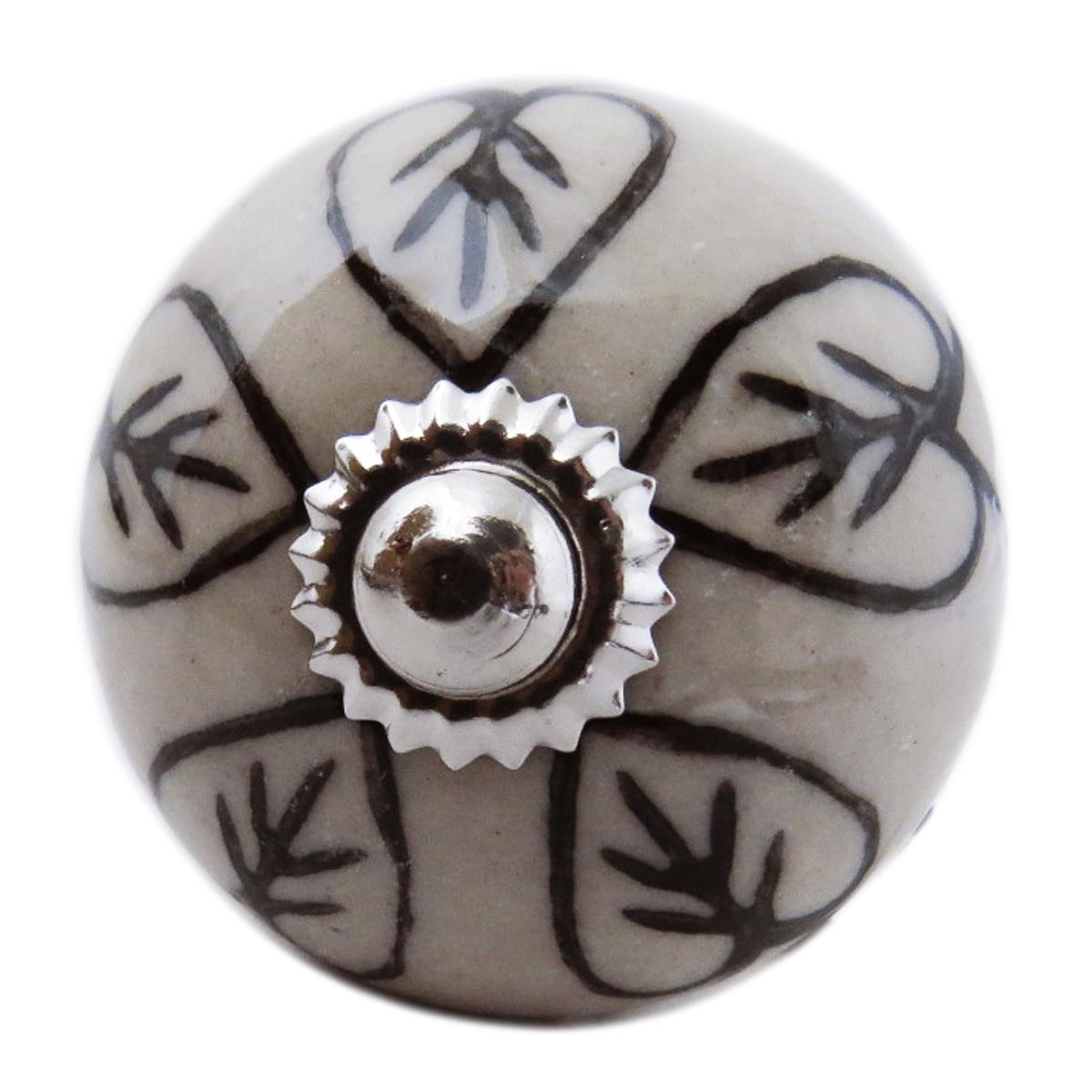 Bouton meuble céramique \'Boho\' gris noir argenté - 60x40 mm - [A3133]