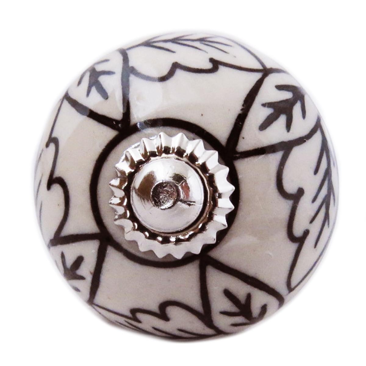 Bouton meuble céramique \'Boho\' gris noir argenté - 60x40 mm - [A3134]