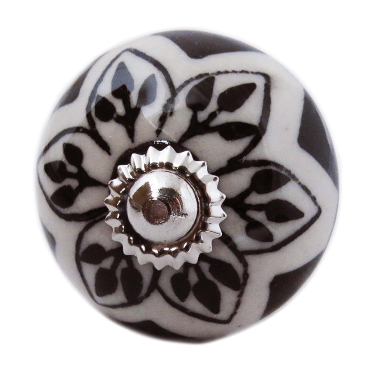 Bouton meuble céramique \'Boho\' gris noir argenté - 60x40 mm - [A3135]