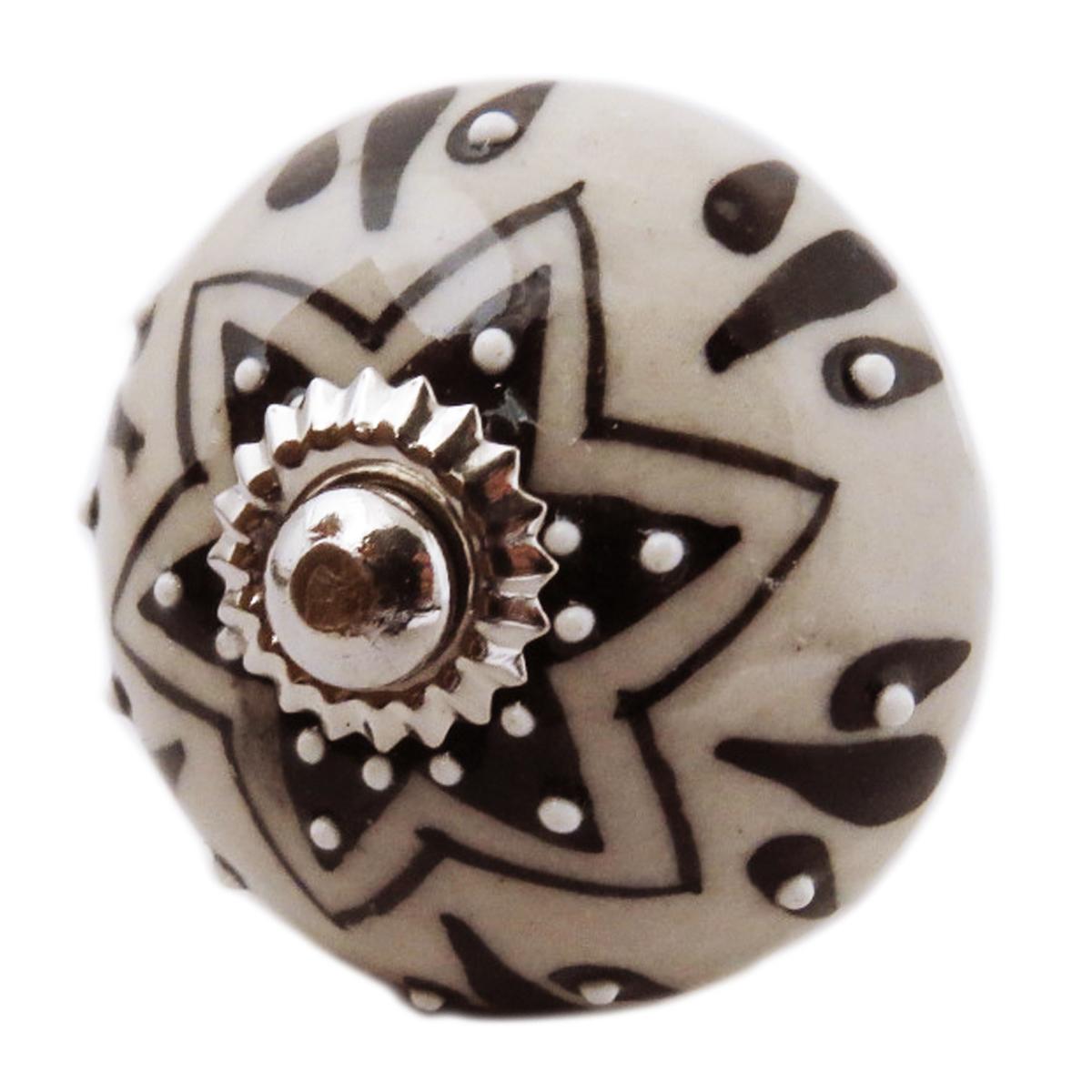 Bouton meuble céramique \'Boho\' gris noir argenté - 60x40 mm - [A3136]