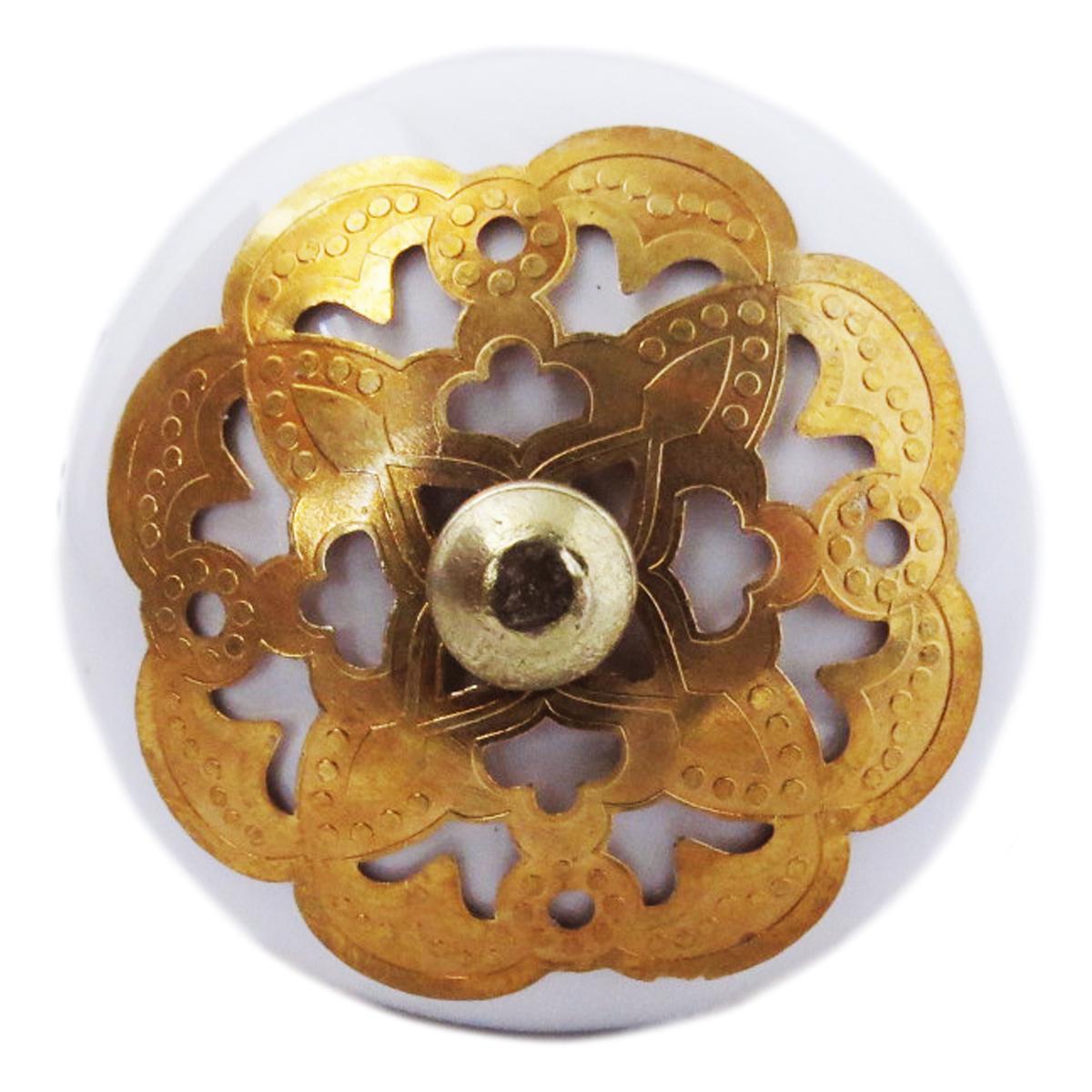 Bouton meuble céramique \'Boho\' blanc doré - 60x40 mm - [A3119]