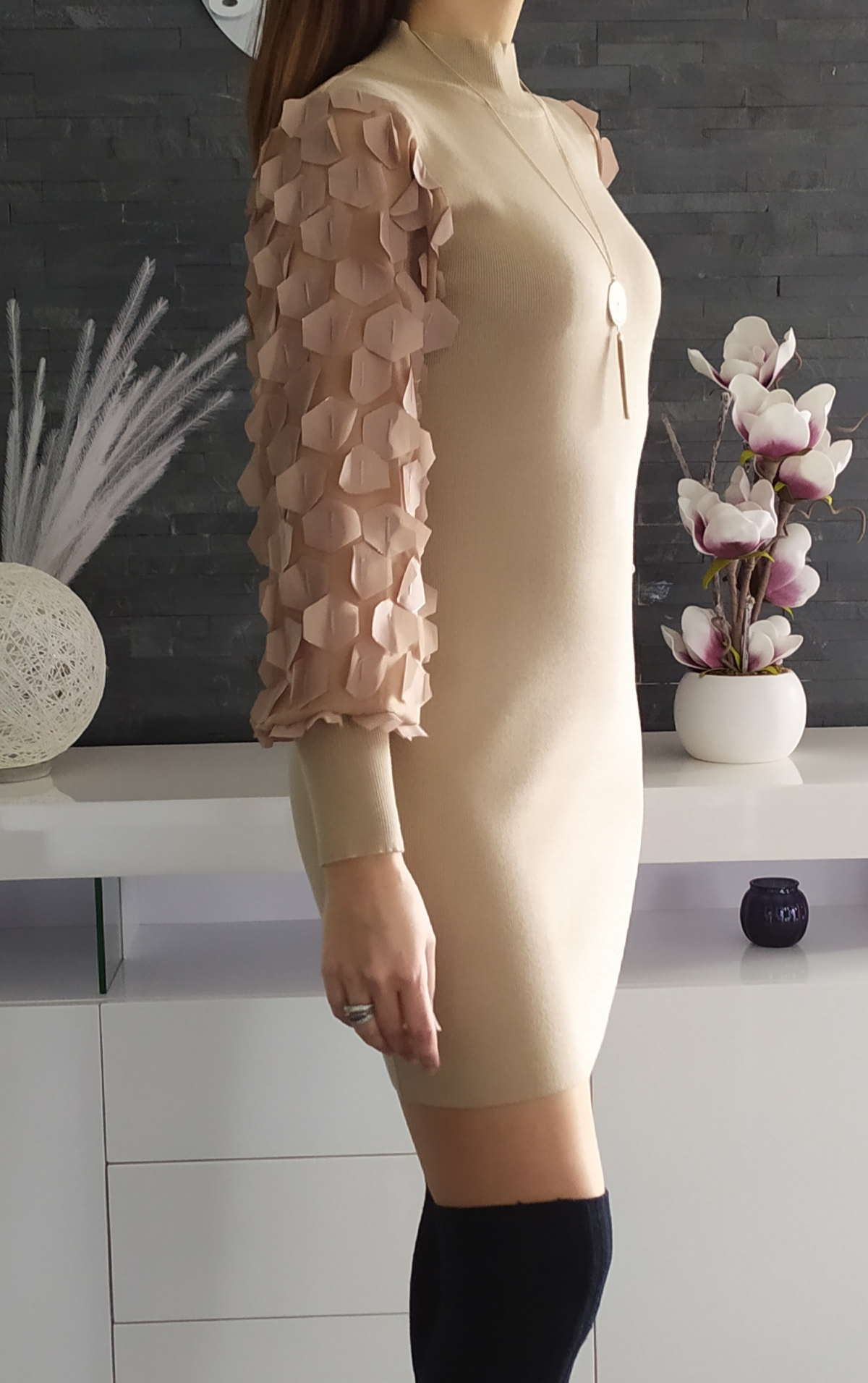 Robe Manches Ballons Taupe