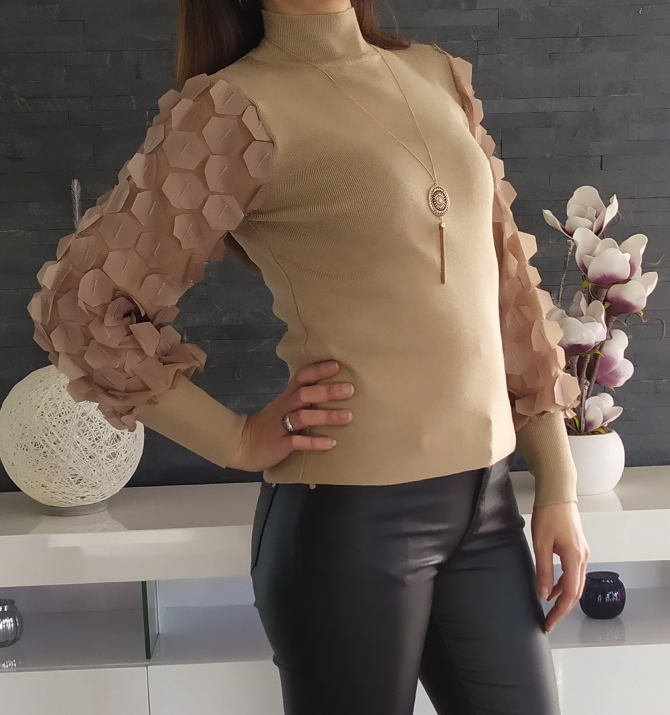 Pull Manches Ballons Taupe