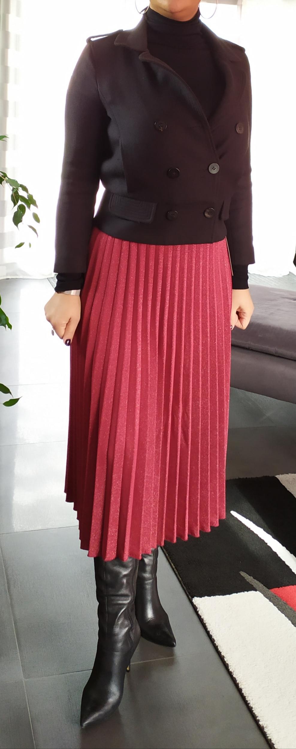 jupe plissée irisée rouge femme