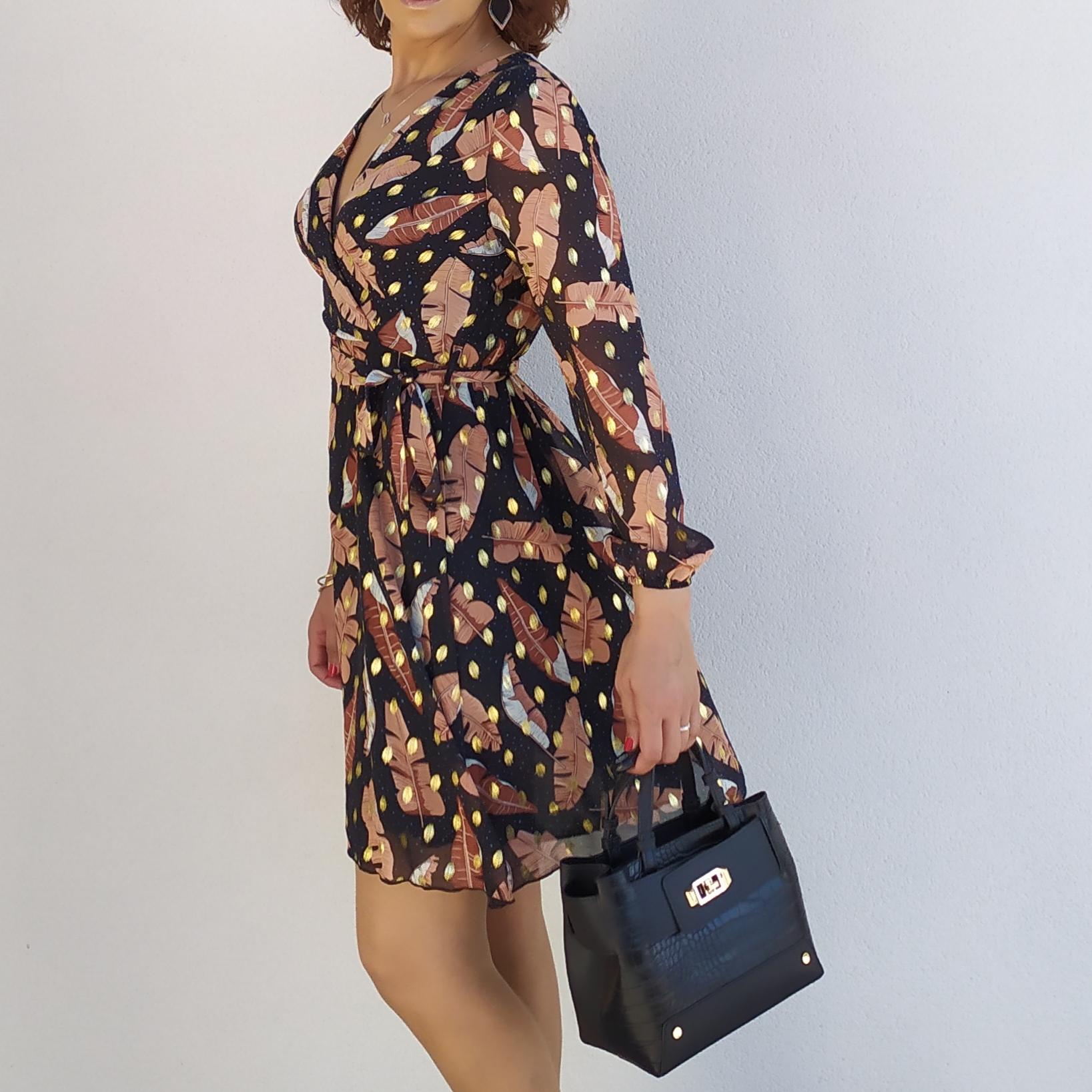 CLARA robe habillée flocage doré tendance femme