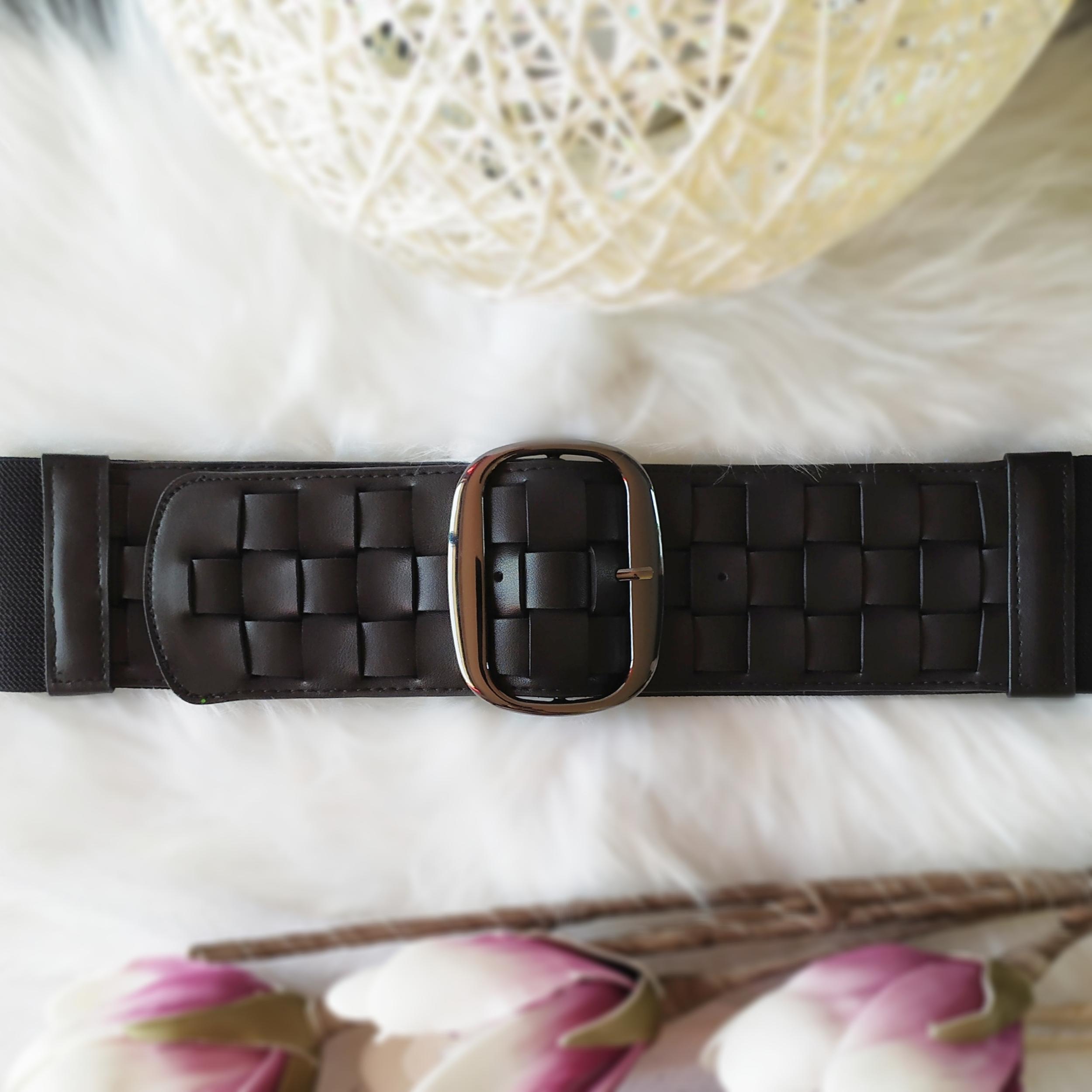 ceinture tressée noire tendance femme