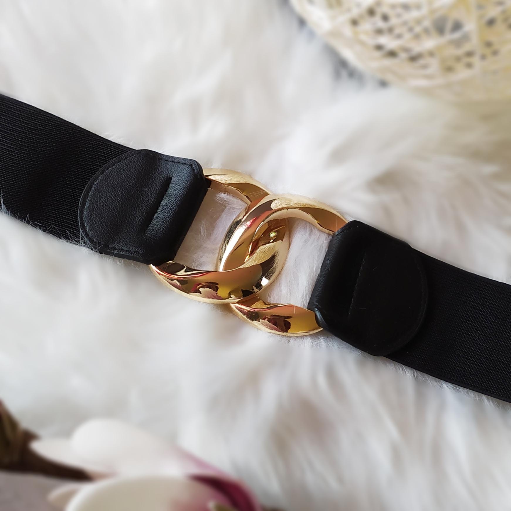 ceinture boucles entrelacées noir or femme tendance