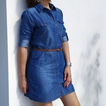GIULIA robe chemise en jean avec ceinture mode femme