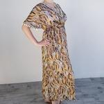 EDEN robe soyeuse orange imprimé tendance femme