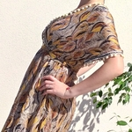 EDEN robe soyeuse imprimé plume tendance femme