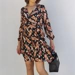 CLARA robe chic imprimé plumes mode femme