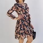 CLARA robe classe imprimé plumes mode femme
