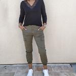CIARA pantalon cargo kaki mode femme tendance