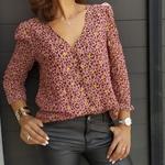 CALY blouse motif léopard flocage doré mode femme