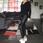 JANNA pantalon huilé noir fashion