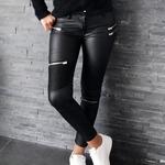 JANNA pantalon enduit zips noir femme