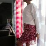 laly jupe imprimé rouge à volants femme