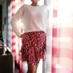 Laly jupe fluide fleurie à volants femme