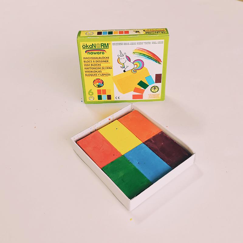 6 blocs de cire à dessin et à coloriage