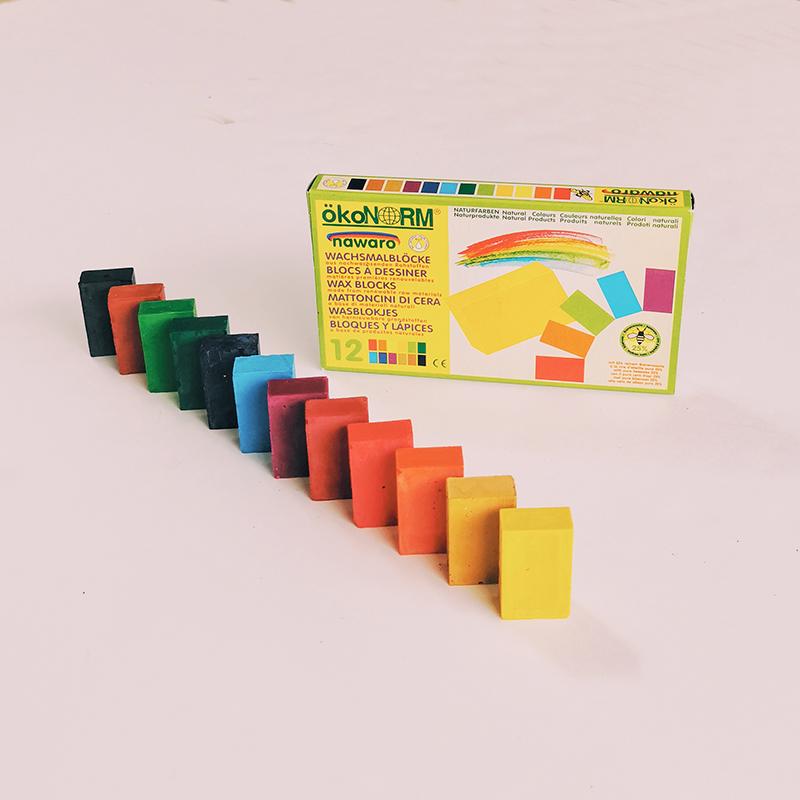 12 blocs de cire à dessin et à coloriage
