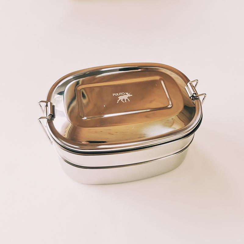 Lunchbox enfant en inox ovale 2 en 1