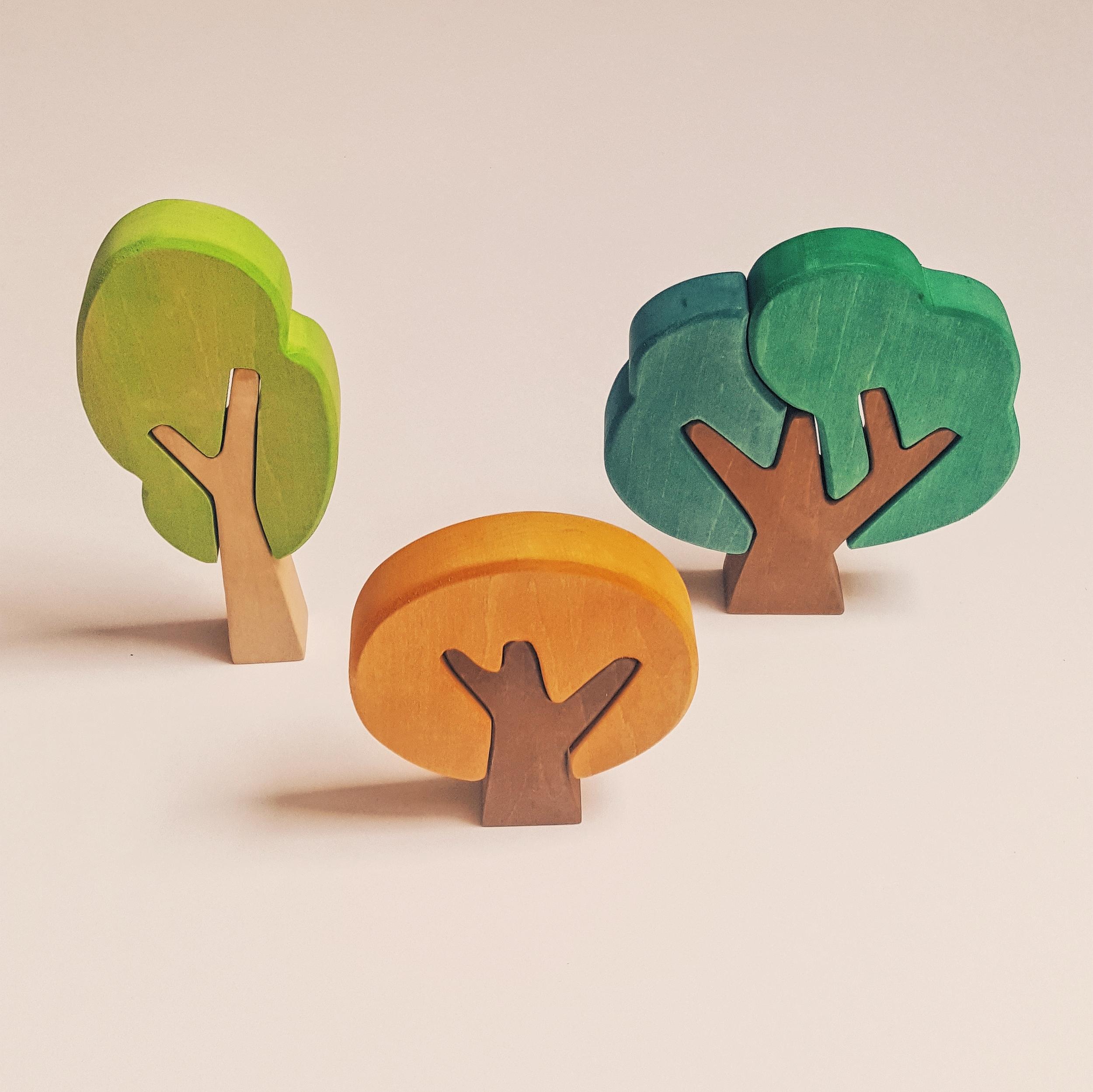 Set de 3 arbres plats puzzle automne