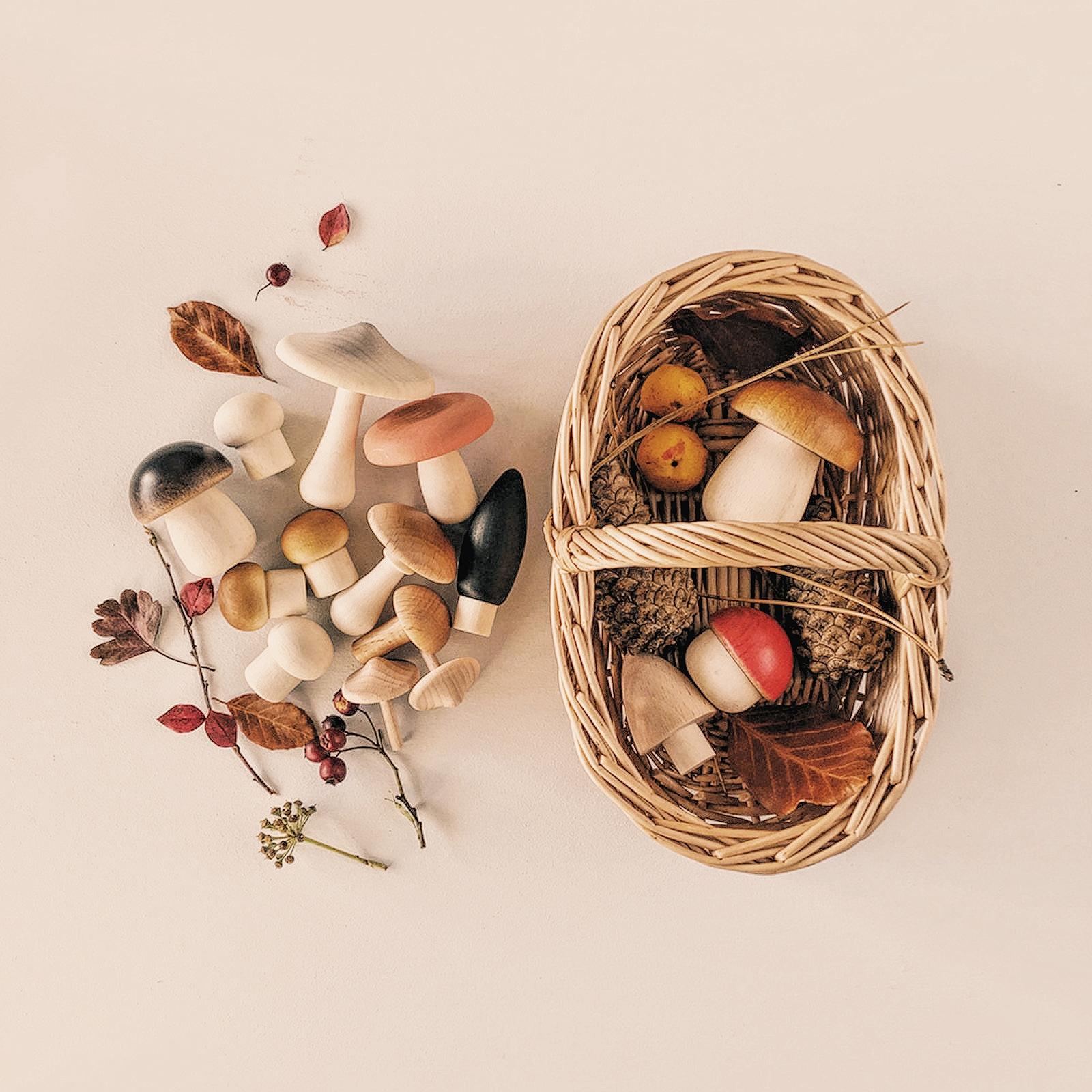Panier de champignons en bois