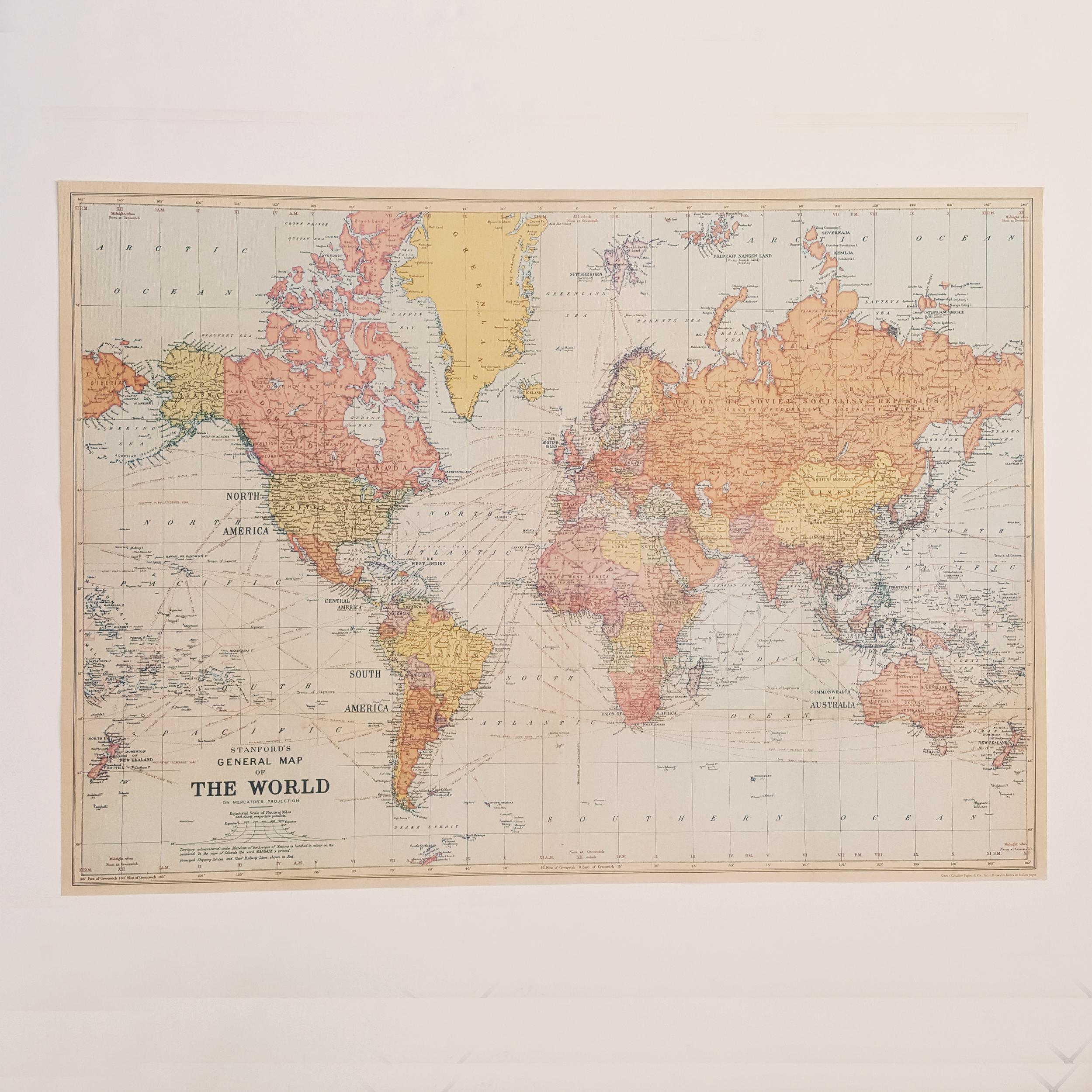 Affiche vintage carte du monde