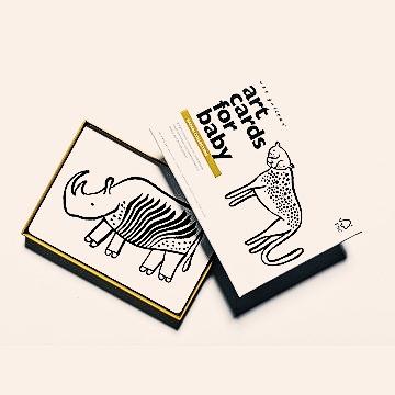 Cartes imagier noir et blanc safari