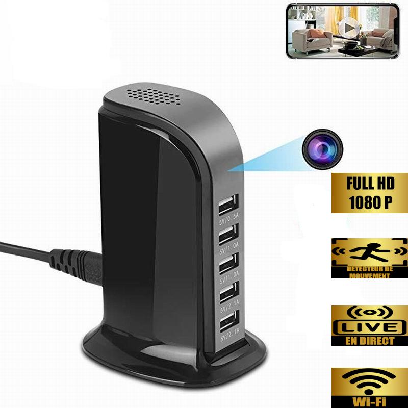 Chargeur multi-USB caméra espion