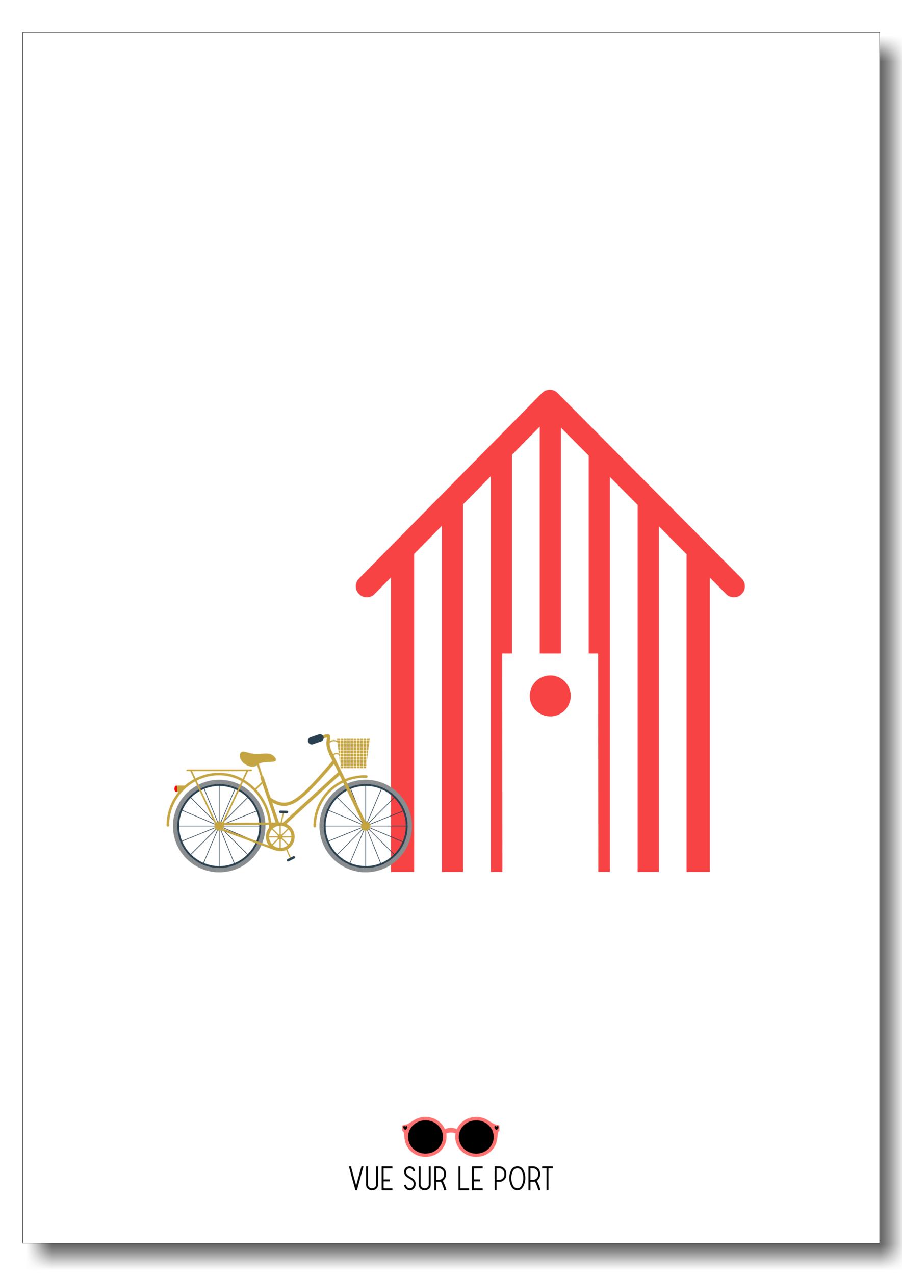 Affiche cabine de plage / vélo