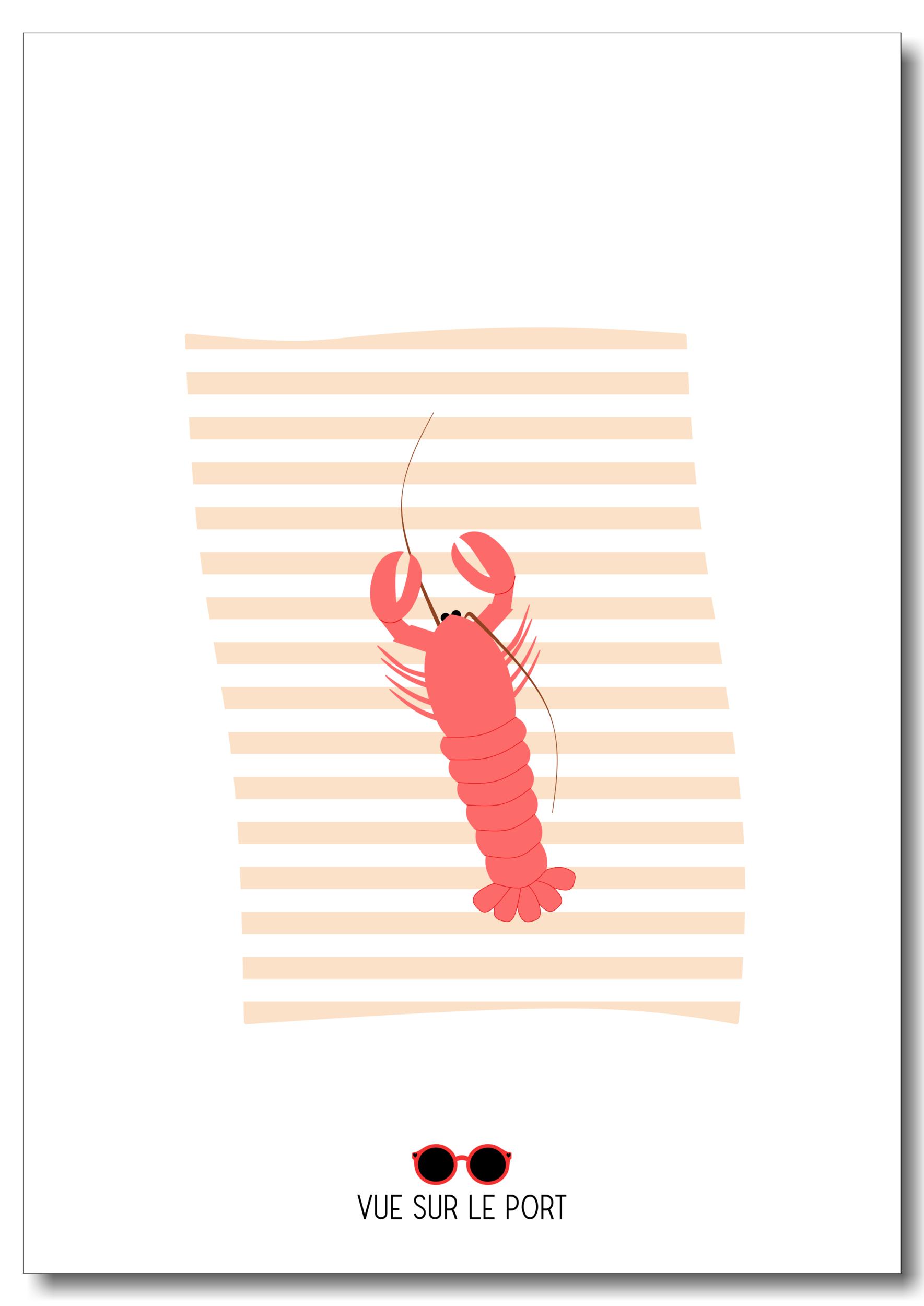 Affiche homard / serviette de plage