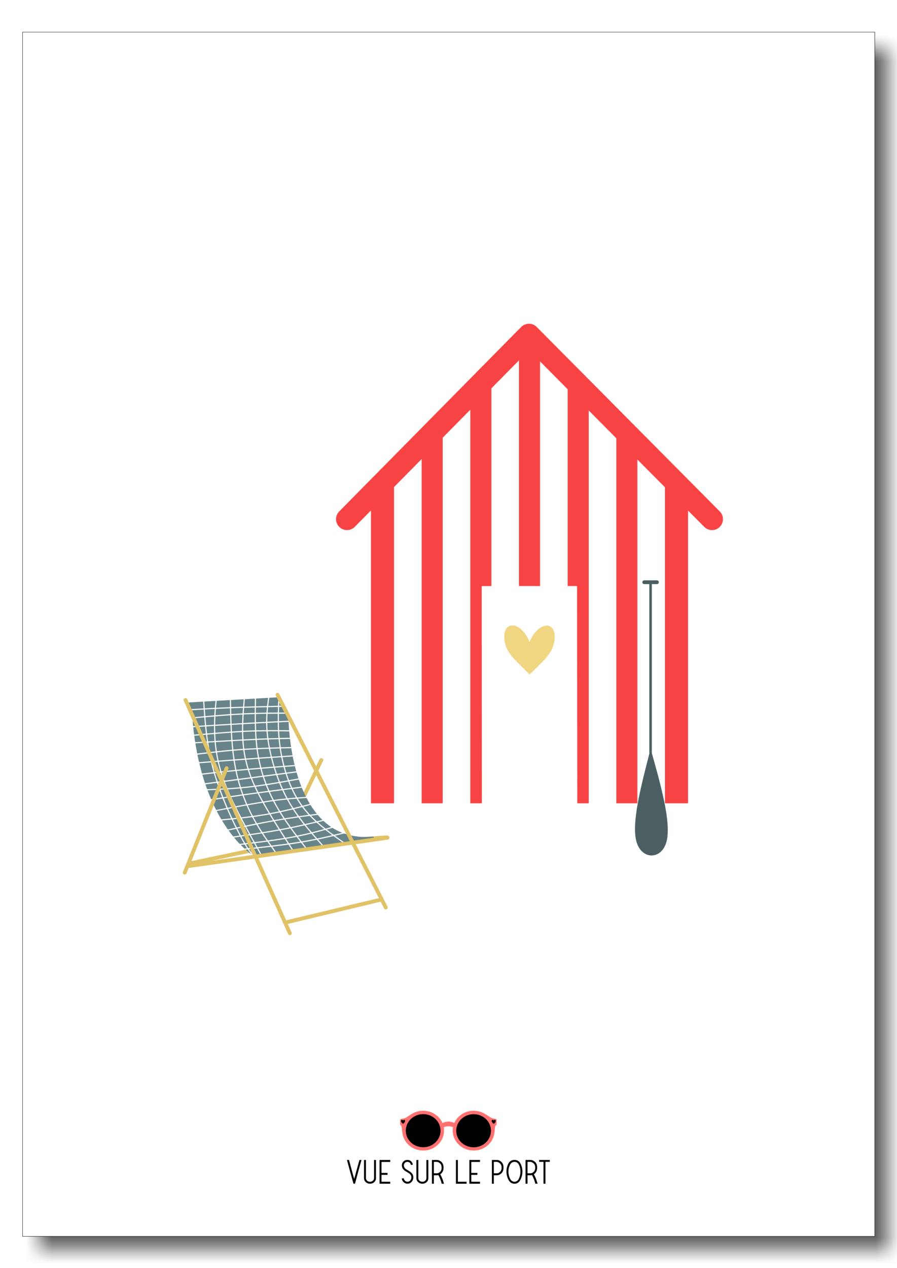 Affiche cabine de plage / transat