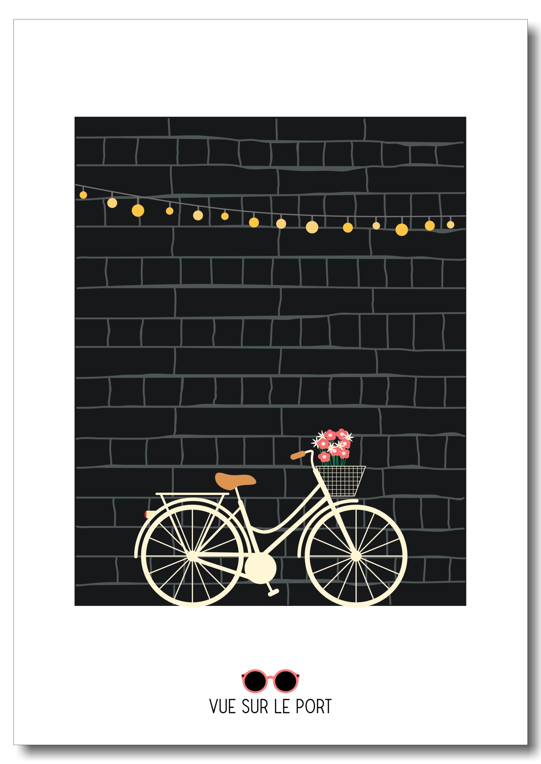 Affiche vélo / mur noir / guirlande