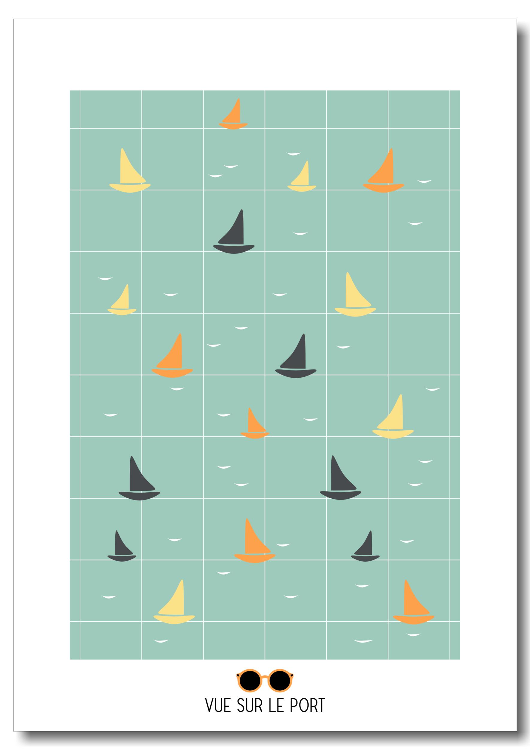 Affiche bateaux colorés