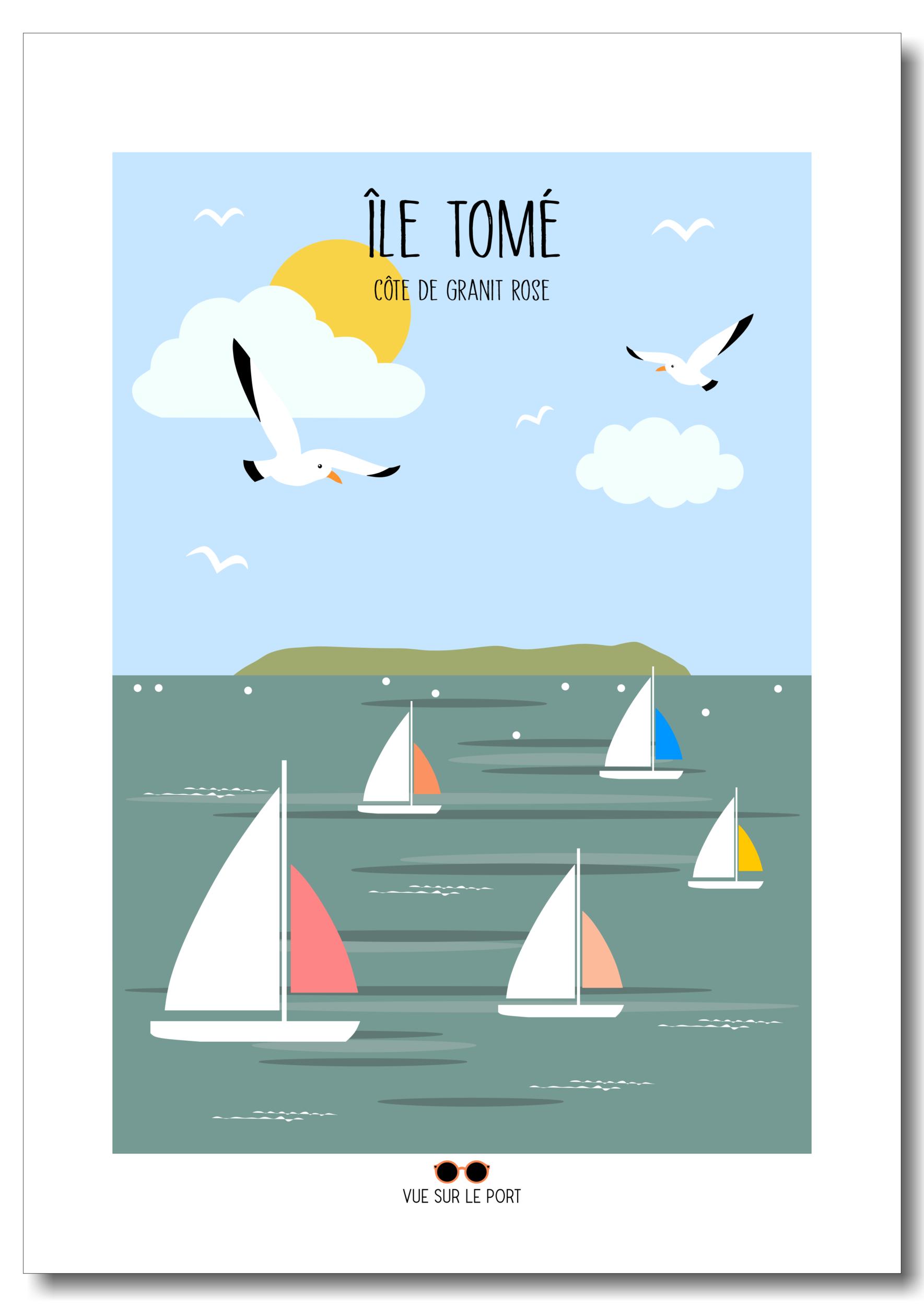 Affiche île Tomé - Côte de granit rose