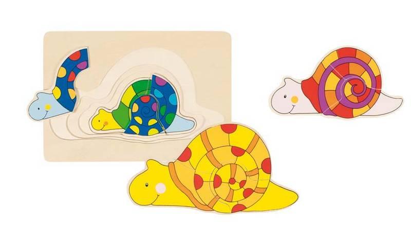 Puzzle Escargot en bois GOKI, 4 couches