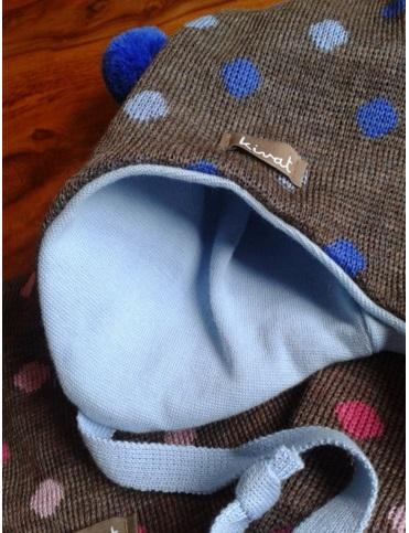 KIVAT Bonnet en laine Pois bleus